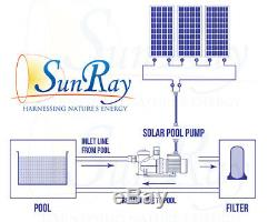1HP SunRay Solar Powered Pool Pump DC Motor In Variable with 2 Panels 60v Pond