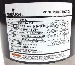 New Emerson P63gek-4516 Pool Pump Motor Eh492 3/4-hp 3450/2850-rpm 3-ph