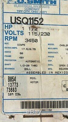 Swimming Pool Pump Motor A O. Smith B854 13773 73683, Usg1152, 1.5 HP 110/230 V